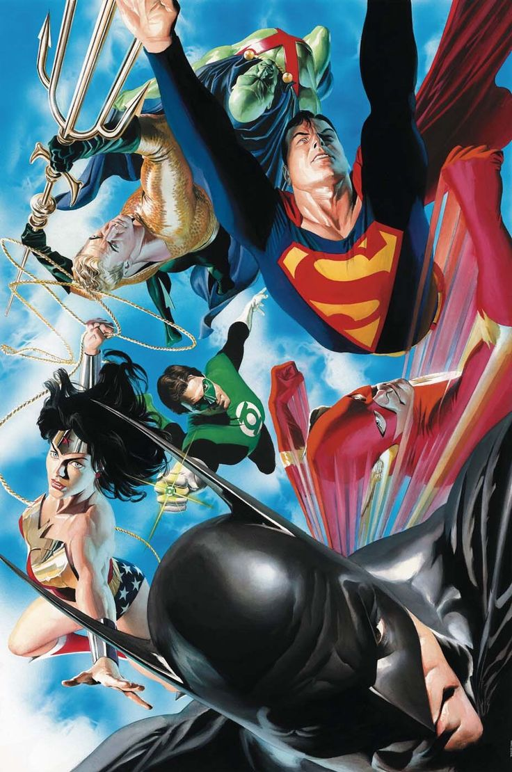 """da-watchtower: """" The Traditional Justice League Team (Art by Alex Ross) """""""