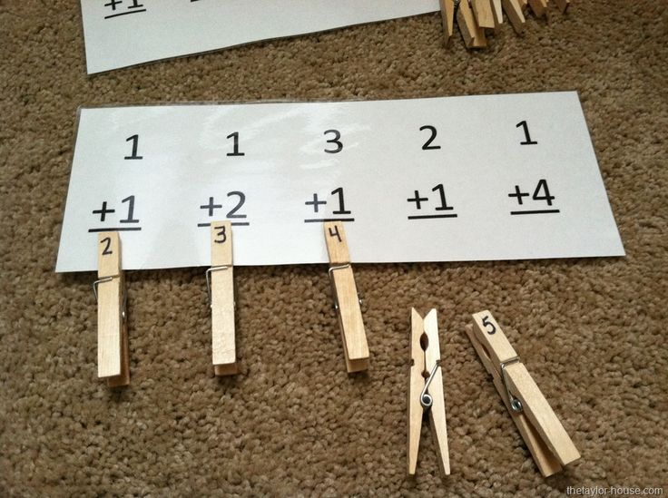 Clothespin Easy Math Activity  *could also print out, cut and use as flashcards with counters