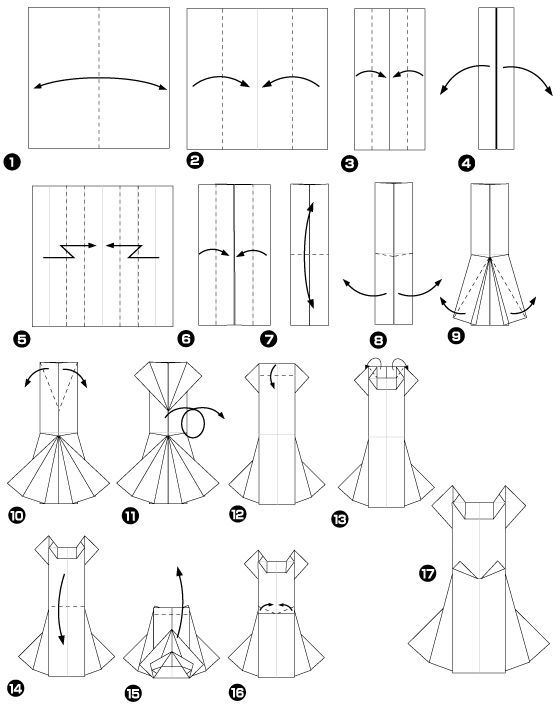 Explication origami robe - Pliage de serviette robe et costume ...