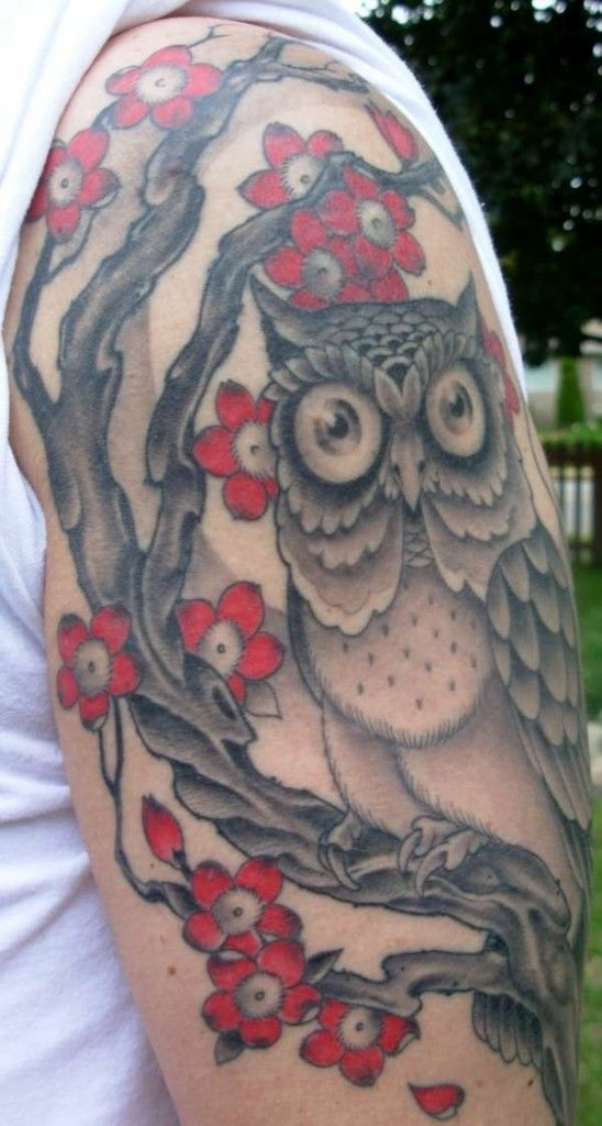 red and black flower tattoo images | owl and red flowers tattoo design