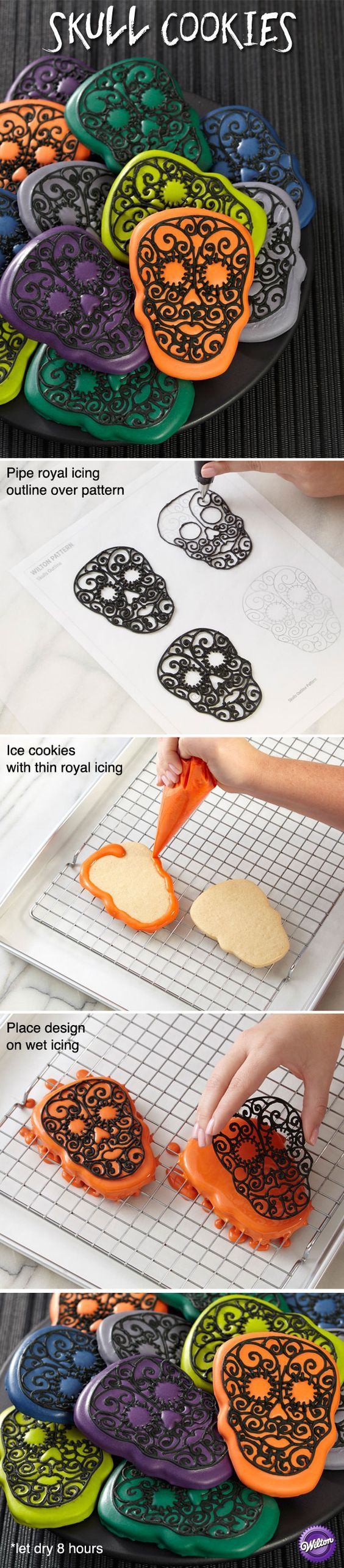 Celebrate Día de Muertos — the Day of the Dead —making traditional skull cookies in updated colors. The intense teal, blue, green, gray, purple and orange shades are easy to achieve using the Wilton Color Right Performance Color System.:
