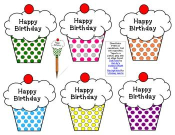 Free Birthday Cupcake Pencil Toppers