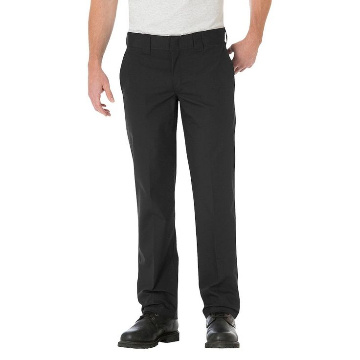 Dickies Men's Big & Tall Slim Straight Fit Lightweight Poplin Pant- Black 44x32