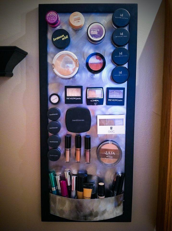 DIY magnetic makeup board. No more digging through my bag. I love it!