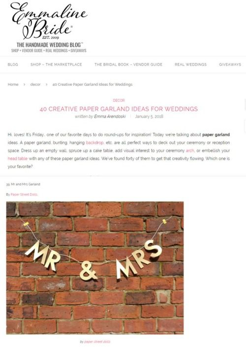 Our MR & MRS wedding letter banner on Emmaline Bride blog! Check out our shop for more handmade paper garlands and decor, custom orders welcome! ~ paperstreetdolls.etsy.com  40 Creative Paper Garland Ideas For Weddings