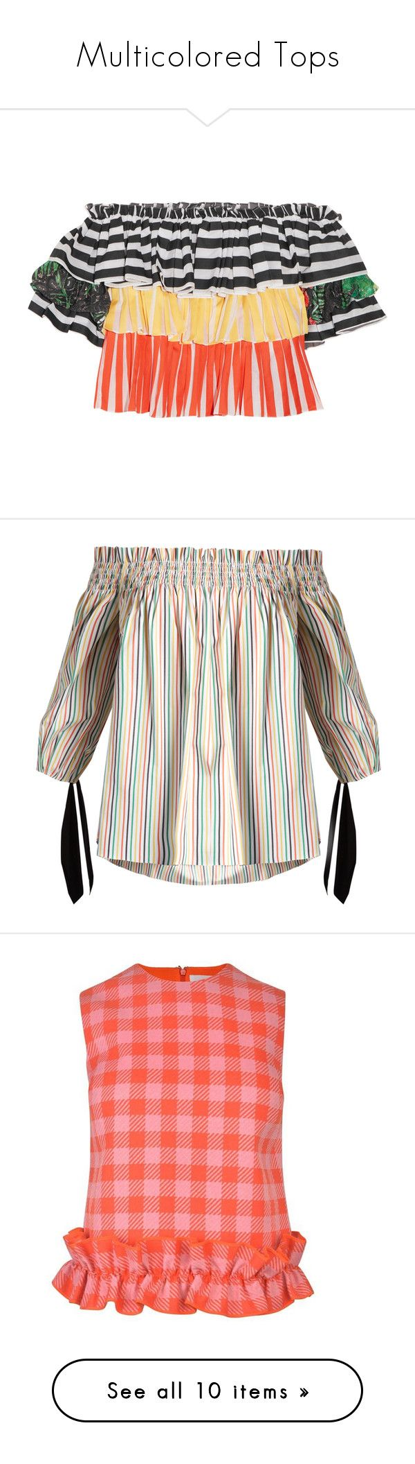 """""""Multicolored Tops"""" by kikikoji ❤ liked on Polyvore featuring tops, striped, caroline constas, striped off-the-shoulder tops, off shoulder tops, lace trim top, stripe top, off the shoulder tops, multi and white off the shoulder top"""