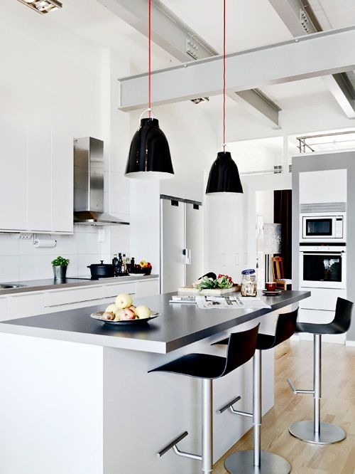Black & White Kitchen via Eclectica