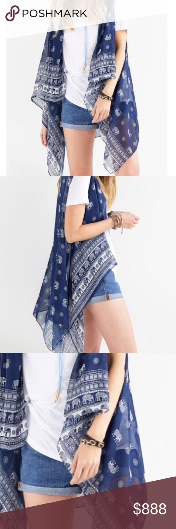 Coming soon❕Elephant kimono vest Elephants!!!!!! Gorgeous on trend elephant and tribal print kimono vest. Uneven hem giving it a fun boho look and feel. Sheer and lightweight. Navy blue.  Wear with cut off shorts and sandals 🐘🌴will be priced at $37 boutique Tops