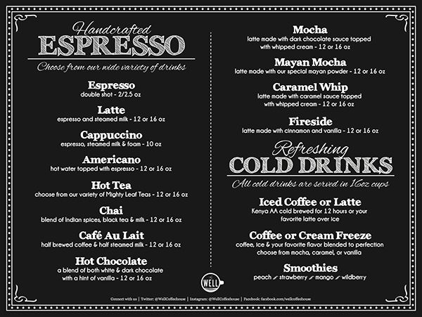 Coffee Cafe Menu Ideas The Table