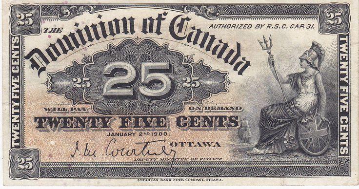 1900 Dominion of Canada 25 Cents Shinplaster Courtney Signature - Nice