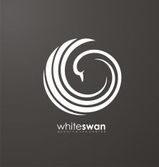 Swan abstract vector logo design vector art illustration