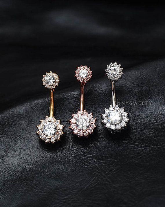 CZ Bauch Ring Blume Bauchnabel Ring Bauch piercing von JennySweety