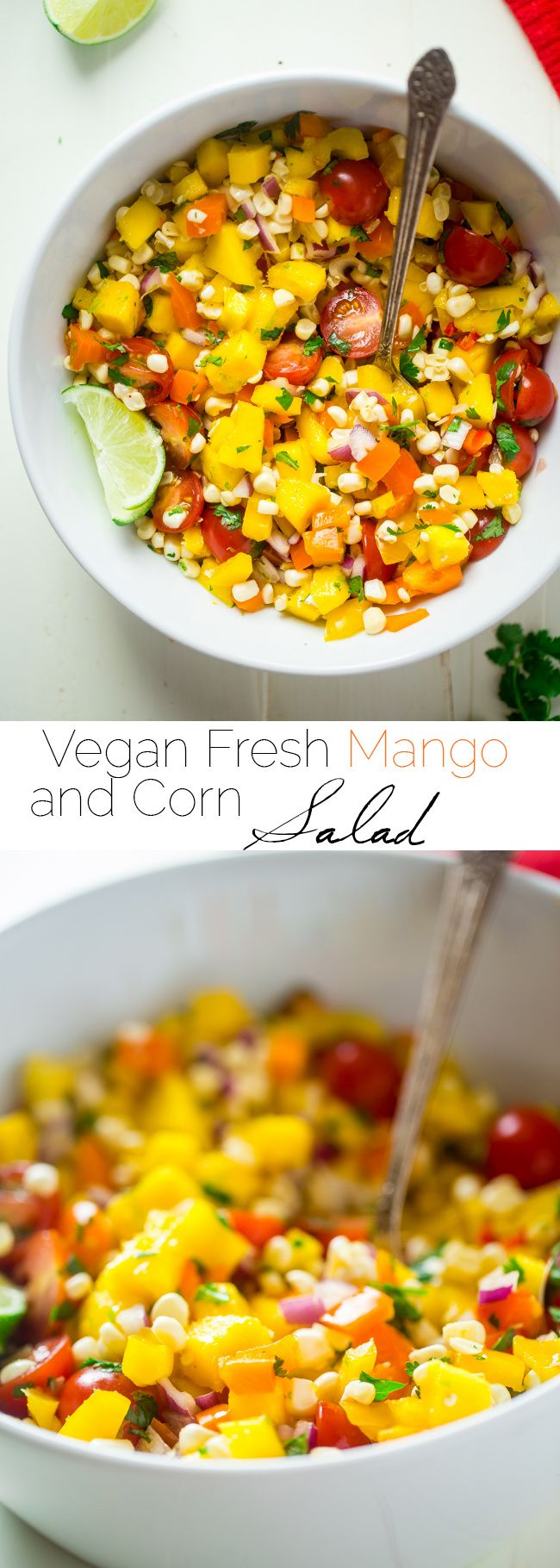 Vegan Fresh Corn and Mango Salad - This healthy salad has fresh corn, juicy, sweet mangos and tons of crispy, fresh vegetables! It's the perfect, quick and easy side dish for summer that is under 100 calories!   Foodfaithfitness.com   @FoodFaithFit