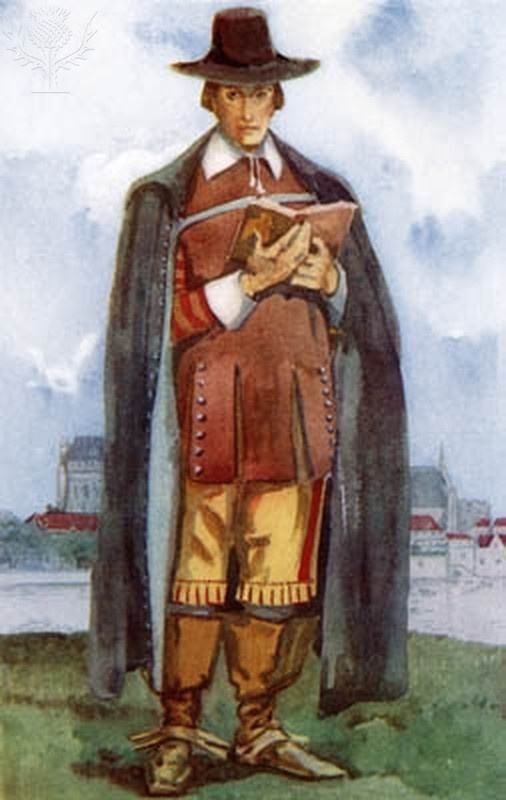 Clothing: The clothing of the male was very simple and modest. The wore knew length breeches and peasant shirts and a long vest. They also wore long white socks with black shoes.