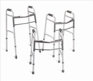 "^Deluxe Walker - Two-Button Walker Adult w/5"" Wheels, 4/cs Min.Order is 1 CS ( 4 Each / Case; ) by Deluxe Walker. $127.55. Convenience and Stability Combine to Create Very Dependable Deluxe Two-Button Folding Walkers. Adult Walker w/5"" Wheels, Height Adjustable 32.5""-39.5"", 4/cs. MDS86410W54: CS. 4 Each / Case;. Each side operates independently to provide easy movement through narrow spaces and greater stability when standing up, while the front cross braces are located near top..."