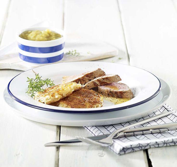 Filet pur de porc, compote de rhubarbe et röstis