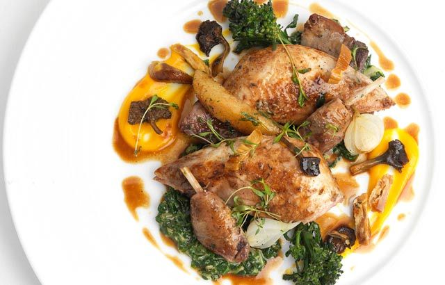Partridge with Swiss chard, chanterelles, quince and chestnuts - Geoffrey Smeddle