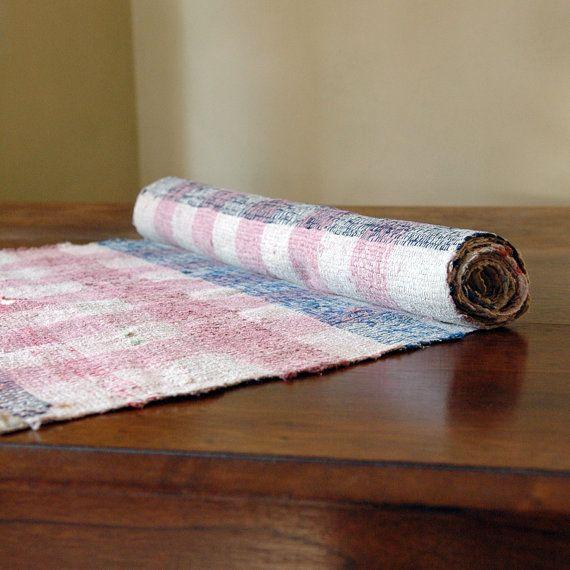 Vintage Rag Rug // Scandinavian Floor Runner // 8 ft