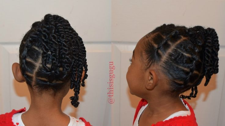 KIDS NATURAL HAIRSTYLES: The Rubber Band And Twists Up-Do