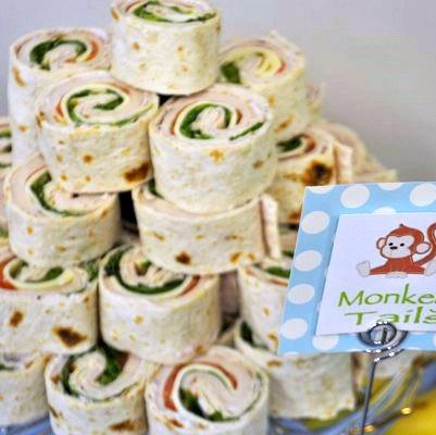 Sock Monkey Party Food:  Pinwheels (Monkey Tails)