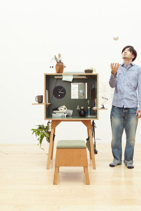Прекрасный комплект мебели Koloro для индивидуальной работы разработала японская дизайн-студия Torafu Architects. Данная комбинация отличается особым уютом и уединенностью.В ее входит табурет со съемной крышкой, под которой находится довольно вместительный ящик, стол и небольшая коробка из ламинированной фанеры. Благодаря последнему элементу комплект приобретает особый шарм. Посмотрите, как удобно можно расположить все необходимые для работы вещи …