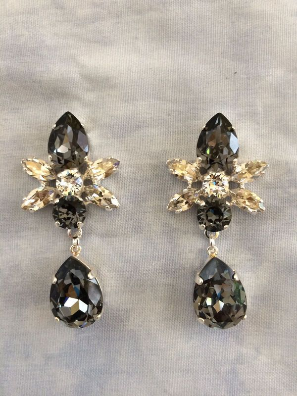 90797880f Swarovski Crystal Black Silver Star Tear Drop Earrings - The Crystal Rose  Bridal Jewelry and Accessories