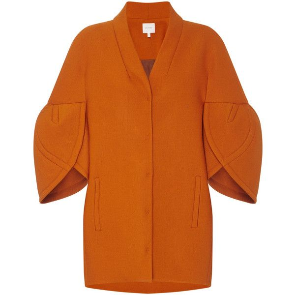DELPOZO Cocoon Coat ❤ liked on Polyvore featuring outerwear, coats, rust coat, tulip coat, 3/4 sleeve coat, delpozo and orange coat