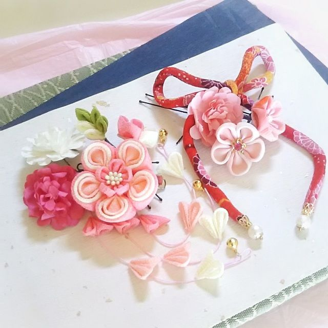 ハンドメイドマーケット+minne(ミンネ)|++かみ飾り2wayクリップ(桃の花)9点セット