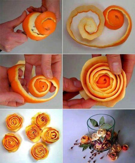 Hacer flores de piel de naranja/ Make orange peel flowers  #recycle design