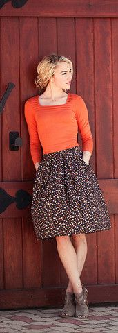 Not So Square Top - cute stylish modest long sleeve top in rust orange