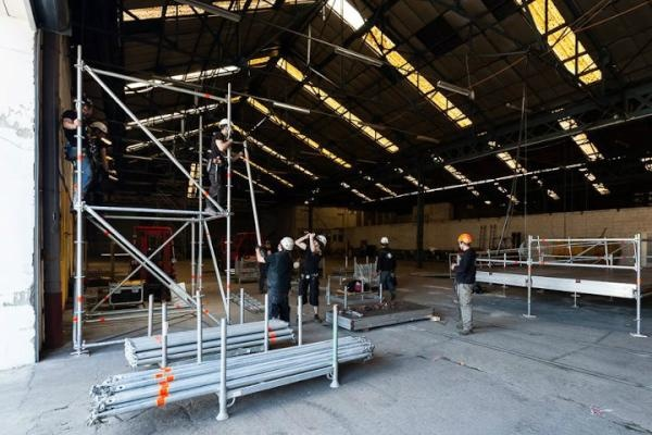 """Coming soon in Lyon, France : """"les Nuits Sonores"""", on of the best french electronic music festival! Here are the men building the place..."""