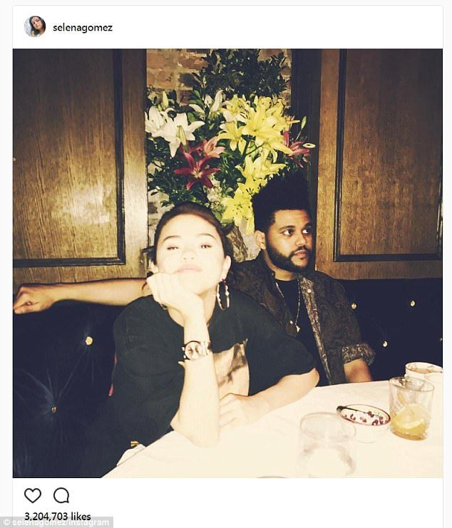 Low-key:Selena shared a photo  to her  whopping 126 million Instagram followers proudly showing off her love The Weeknd in the early hours of Tuesday morning