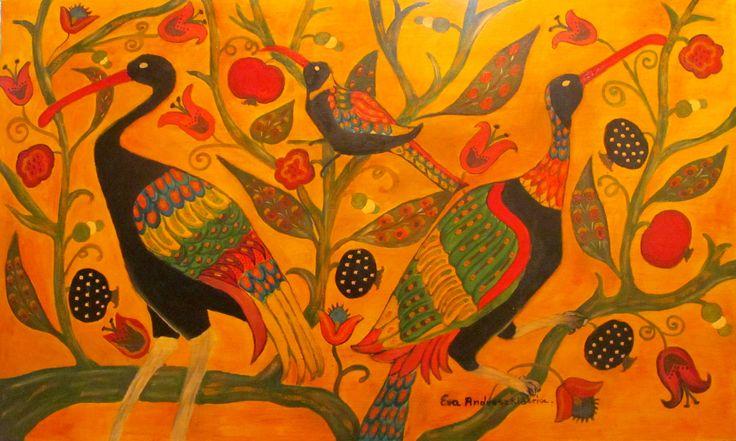 Ewa Andruszkiewicz malarstwo  ''Ptaki 2'' olej 100x60.