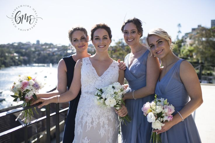 Georgia's bridesmaids wearing our Lela gown in Slate - Available at Bridesmaids Only xx