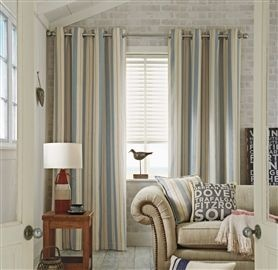 Buy Blue And Natural Woven Stripe Eyelet Curtains From The Next UK Online Shop