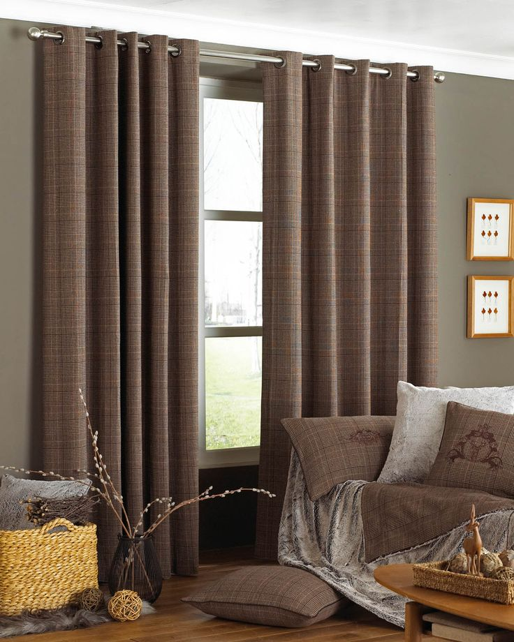 Courcheval Ready Made Eyelet Curtains Brown | Check Cushions | UK Delivery