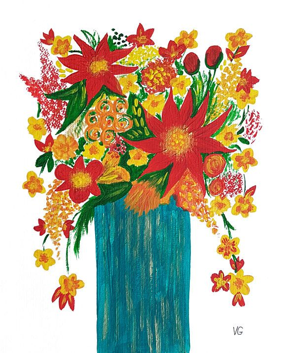 Original floral still life acrylic painting on paper