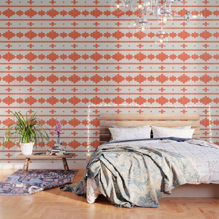 Orange Cream Aztec Stripe Wallpaper Striped Wallpaper Peel And Stick Wallpaper Southwest Decor