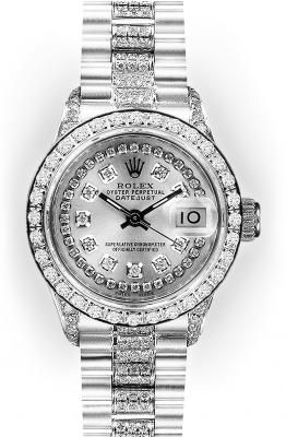 Ladies Silver String Diamond Dial Rolex Datejust Super President (927)