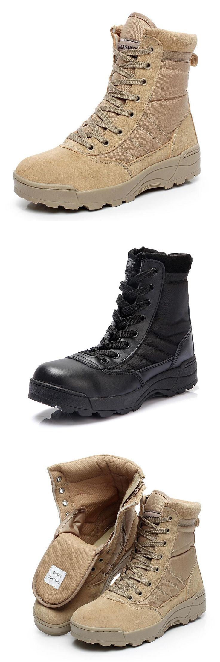 [Visit to Buy] SWAT Military Tactical Desert Boots Men Fashion Army Combat Boots Summer Outdoor Hiking Climbing safety Shoes Plus Size 38-47 #Advertisement