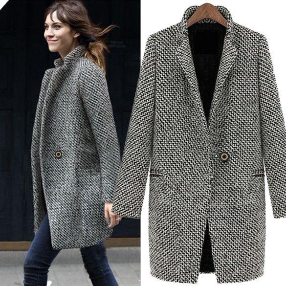 Ladies Winter Warm Lapel Trench Wool Coat Long Autumn Outwear Jacket 63