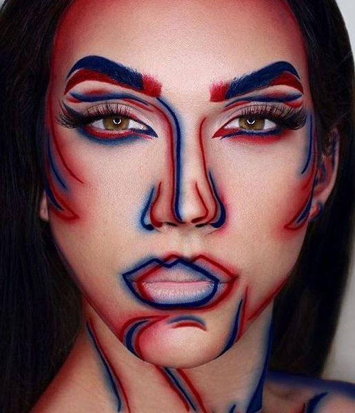 """How cool is this """"3-D"""" effect makeup? This would score major creativity points on Halloween, plus when else do you have the opportunity to draw on your face with blue and red liner pencils?"""