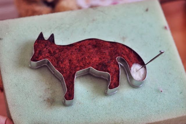 needle felting using cookie cutters