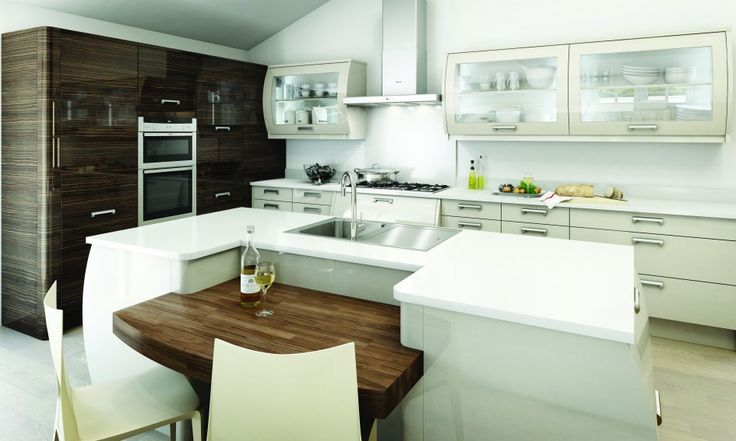 Furniture, Fantastic White Lacquered Kitchen Island With Wooden Bar Counter And Sink Simple White Dining Chairs White Stained Kitchen Cabinet With Drawers Stainless Steel Kitchen Hood White Wall Cabinet With Glass Door White Wall: Awesome New Kitchen Island Ideas