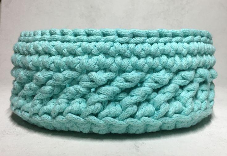 Kosz ze sznurka bawełnianego dziergany na szydełku / crochet basket