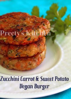 Zucchini Carrot & Sweet Potato Vegan Burger / Patty / Tikki make this GF  by substituting the flour n breadcrumbs w an alternative. #veganburger