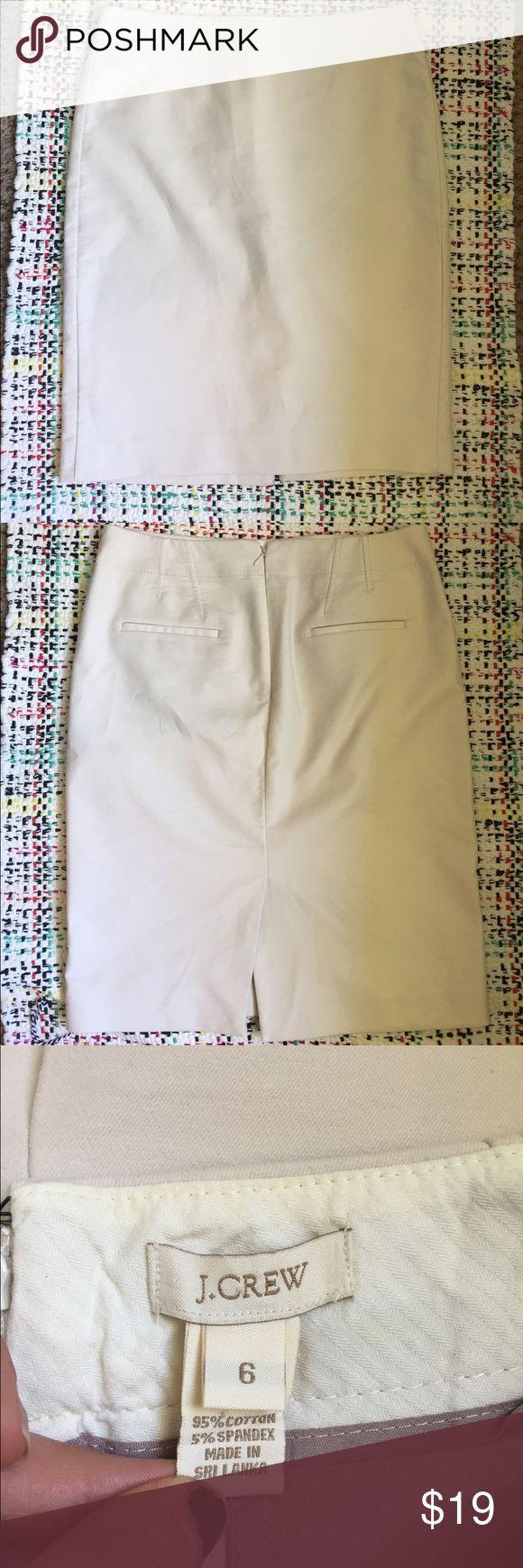 J. Crew beige pencil skirt J. Crew cotton beige pencil skirt. 95% cotton 5% spandex. Size medium. No stains. Skirts
