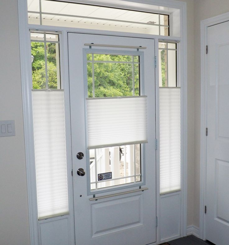 Pleated shades are an economical yet highly functional for Front door with window on top