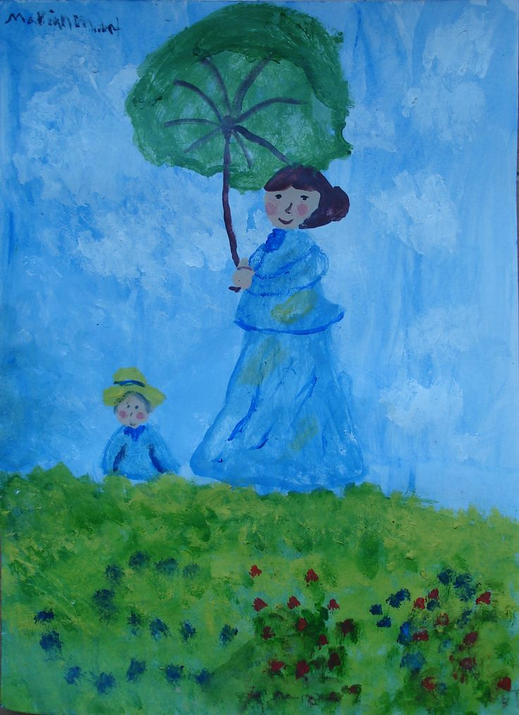 """Versión de """"Mujer con sombrilla"""" de Claude Monet."""