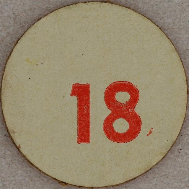 Cardboard Bingo number 18